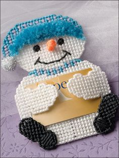 Plastic Canvas - Gifts - Snowman Gift Card Holder