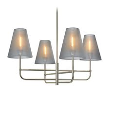 Our price: $684.20 - Sonneman 4-light chandelier in polished nickel finish with organza silver shades. Reg. Price 1312.50