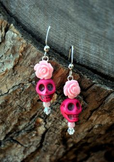 Pink Sugar Skull and Rose Earrings by HoleInHerStocking on Etsy, $8.00