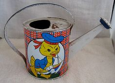 Vintage Ohio Arts Duck Watering Can Plaid Duck w Sail Boat Garden Hoe