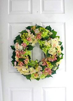 Hydrangea Wreath Green Wreath Pink by englishrosedesignsoh Hydrangea Wreath, Floral Wreath, Green Wreath, Drawer, Wreaths, Unique Jewelry, Handmade Gifts, Pink, Etsy