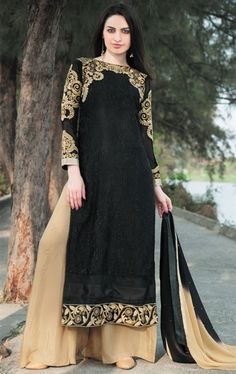 0c8dd9ef15d Black and beige long suit with embroidery on sleeves Black and beige brasso  long Comes with matching bottom and Can be stitched upto bust size 42 inches