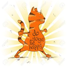 Funny illustration with cartoon red cat doing warrior position of yoga. Fruit Vector, Free Vector Images, Vector Free, Yoga Cartoon, Funny Sketches, Animal Footprints, Cow Vector, Cocktails Vector, Backgrounds