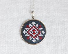 Ethnic Cross stitch necklace - white and red on black embroidery - Slavic traditional ornament - Handmade jewelry by Skrynka n066