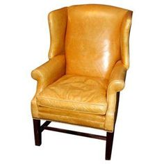 Mustard Leather Wingback Chair