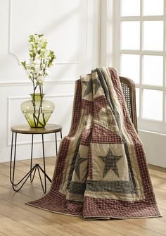 """Plymouth Quilted Throw Country beuaty and charm will be displayed when you place this Plymouth Quilted Throw on the back of your sofa or chair. It measures 70x55"""" and is made from 100% cotton fabrics."""