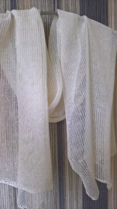 Linen Scarf Shawl Wrap Stole Cream White, Light, Transparent, Knitted, Infinity, Spring / Summer