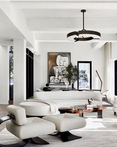 Black And White Living Room Decor, White Decor, Curved Sofa, Space Furniture, Cushions On Sofa, Luxury Bedding, Dining Rooms, Living Room Designs, Modern Contemporary