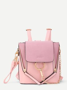 ROMWE - ROMWE Chain Decorated PU Backpack With Convertible Strap - AdoreWe.com