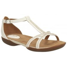 bd3a07546 Clarks Ladies Raffi Star - This T-bar silhouette in White leather features  diamante detailing for a glamorous edge while a buckle strap finishes the  look.