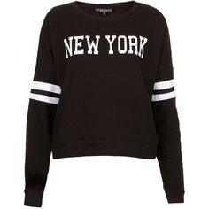 TOPSHOP Petite New York Motif Sweat ($24) ❤ liked on Polyvore featuring tops, sweaters, shirts, jumpers, black, petite, black white stripe shirt, petite shirts, topshop shirt i topshop tops