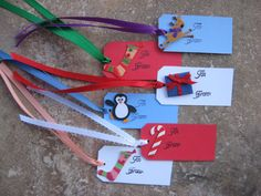 Set of 6 Holiday Gift Tags with Ribbon a by eyepoppingcreations, $8.00
