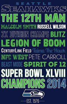 Seattle Seahawks Typography Canvas Art