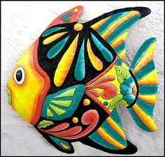 "Yellow & Turquoise Tropical Fish Metal Wall Art - 24' X 24"" . $59.95. A brightly hand painted metal tropical fish wall hanging for your home. Can be used indoors or outdoors."
