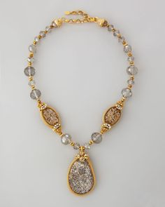 jose and maria barrera jewelry | Jose & Maria Barrera Druzy Crystal Necklace 22l in Gold (NATURAL)