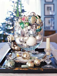 Ornament Jar  Clear glass vessels—bell jars, deep bowls, hurricane lamps—are ideal for displaying collections