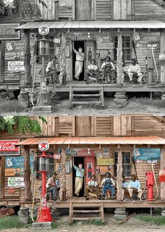 AWESOME IMPROVEMENT THAT ADDING COLOR BRINGS TO A PICTURE - CLASSIC RURAL SOUTHERN COUNTRY STORE/GAS STATION PORCH SCENE IN BOTH BLACK & WHITE AND COLOR!