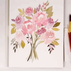 Learn how to paint a loose watercolor wedding floral bouquet with Snowberry Design Co. Easy to follow, step by step tutorial for beginners. Peonies and Roses using pink and purple.