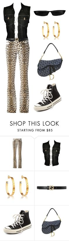 """""""Untitled #1073"""" by lucyshenton ❤ liked on Polyvore featuring Roberto Cavalli, Jean-Paul Gaultier, Gucci and Converse"""