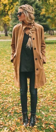 camel coat + boho braids