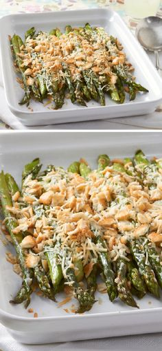 Baked Asparagus with Crunchy Crumb Topping – Add elegance to any occasion by making this recipe for Baked Parmesan Asparagus featuring KRAFT Peppercorn Ranch Dressing with a crunchy crumb topping. This top-rated dish is ready for your dinner table in just Side Dish Recipes, Vegetable Recipes, Vegetarian Recipes, Dinner Recipes, Cooking Recipes, Healthy Recipes, Parmesan Asparagus, Baked Asparagus, Asparagus Recipe