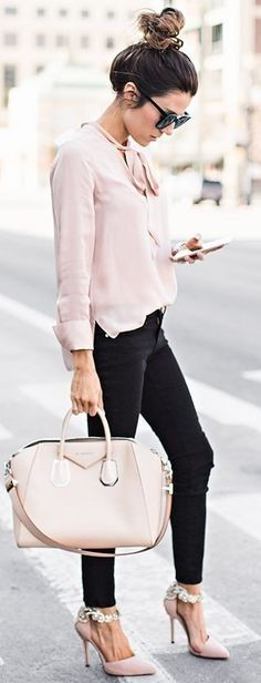 #streetstyle #casualoutfits #spring | Blush Knot Top | Black Denim | Blush Embellished Heels  |  Nude Handbag | Pink and Black Casual Chic Street Style | Hello Fashion