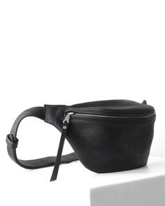 Large and edgy black designer leather fanny pack by DAPHNY RAES