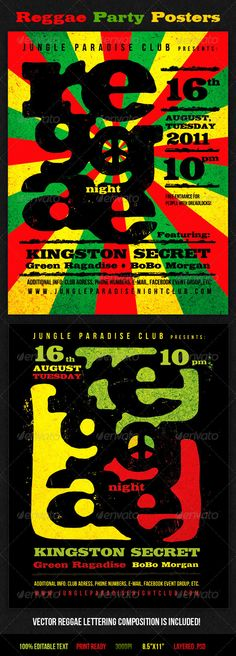 Reggae Party Posters — Photoshop PSD #flayer #dub • Available here → https://graphicriver.net/item/reggae-party-posters/405274?ref=pxcr