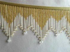 "SALE Gold 4"" beaded fringe trim with 1 1/4"" bugle beads on the bottom, dance   eBay!"