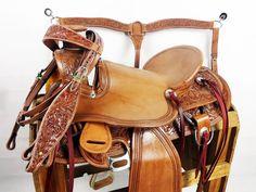 "16"" WESTERN WADE ROPING RANCH LEATHER HORSE BRIDLE BREAST COLLAR SADDLE SET LOT #MRSADDLE"