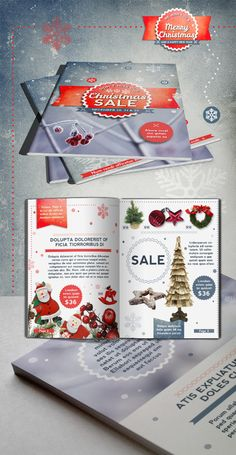 Retro Christmas Brochure with ribbons and snowflakes, ornaments, borders and backgrounds. Use as a promotion brochure or as a catalogue. Retro Christmas, Christmas Design, Christmas Themes, Xmas, Indesign Templates, Brochure Template, Christmas Brochure, Invitation, Brochure Design
