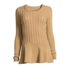Neiman Marcus Cashmere Cabled Peplum Pullover Sweater ($135) ❤ liked on Polyvore featuring tops, sweaters, beige sweater, cable pullover, cashmere cable sweater, long sleeve pullover sweater and beige cable knit sweater
