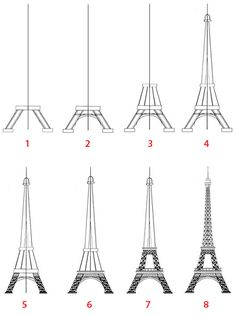 Elegant drawing of the Eiffel Tower step speed z. Eiffel Tower Drawing, Eiffel Tower Painting, Eiffel Tower Art, Cool Art Drawings, Pencil Art Drawings, Easy Drawings, Art Sketches, Tour Effel, Paris Painting