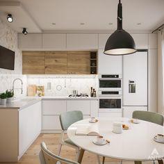 Kitchen Shelf Design, Modern Kitchen Design, Home Decor Kitchen, Kitchen Layout, Interior Design Kitchen, Kitchen Sets, Small Modern Kitchens, Room Color Design, Kitchen Upgrades