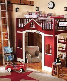 Children Kids Loft Bed Design Ideas with Fire Departments Theme