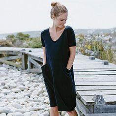 Seam and Pocket Detail Dress - Navy