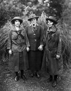 Undated portrait of Juliette Gordon Low (center), founder of The Girl Scouts of the U.S.A., with two Girl Scouts in the early years of the movement.