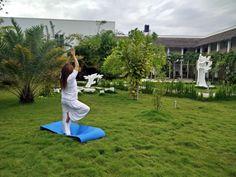 Celebrating International Day of Yoga in the garden of Amra Palace #Maldives #Laamu #yogaday #peace #harmony #garden