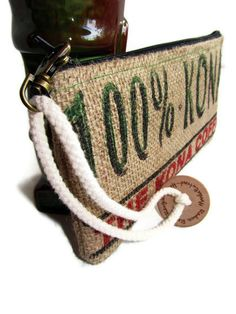 READY TO SHIP Burlap Kona Coffee Bag Wristlet by ManilaExtract, $30.00