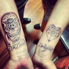"Matching tattoo ideas his and hers ""Till death do us part"" day of the dead theme"