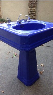 Blue Pedestal Sink : ... Sinks on Pinterest Vintage Sink, Vintage Bathroom Sinks and Sinks