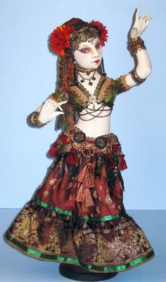 """This Tribal style Belly Dancer/Gypsy costume fits """"Le Femme"""" doll pattern.  Pattern for costume only, doll pattern not included.  By Arley Berryhill"""