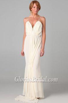 Celebrity Ivory Chiffon Spaghetti Straps Prom Dress Evening Gown - Glorias Bridal