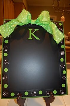 Baking pans spray painted with chalkboard paint they are magnetic... Sooo stinkin cute and inexpensive gift.