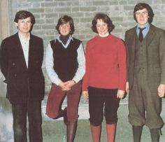 Diana, dressed in the knicker-blockers which were to become much copied during her romance with Prince Charles, with her friend. Sophie Kimball, Harry Fitzalan-Howard and Edward Arundel.