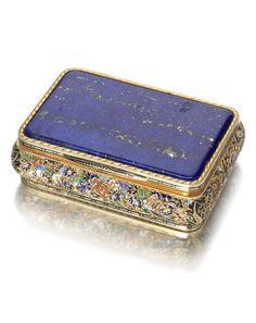 A rare 19th century Austrian lapis lazuli, gold and enamelled snuff box by Emanuel Pioté, Vienna 1826