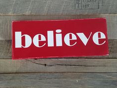 Believe one little word Christmas sign red painted wooden sign Christmas sign  on Etsy, $10.00