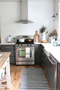 Kitchen Design - Charcoal Cabinets and White Subway Tile