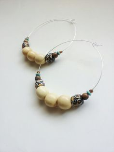 Large+African+beaded+hoops+silver+beaded+hoops+The+by+Absynia,+$14.00
