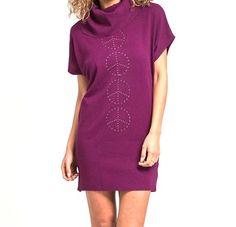 Short+Sleeve+Cowl+Neck+Peace+Tunic+or+Sweater+Mini+Dress